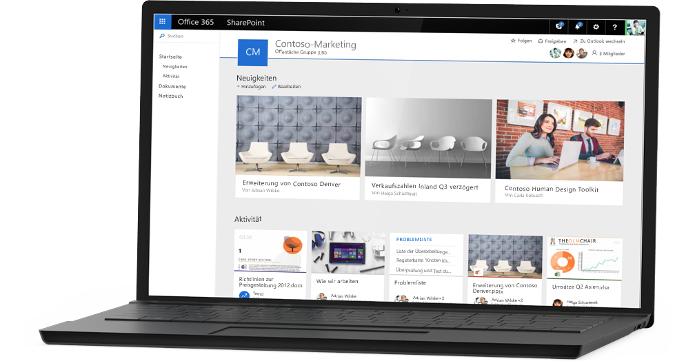 Screenshot der Beispielwebsite von Contoso Marketing in SharePoint Online