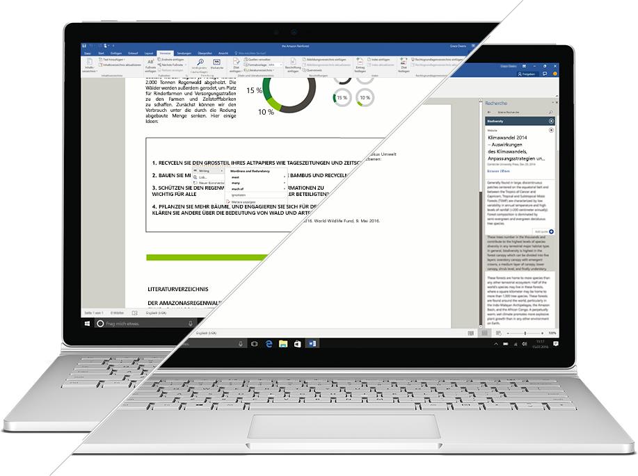 Screenshot von Recherche und Editor in Microsoft Word