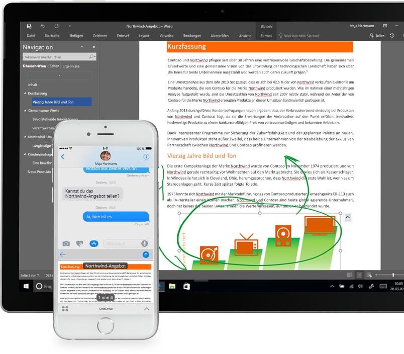 Dateien in OneDrive auf einem Smartphone und einem Tablet