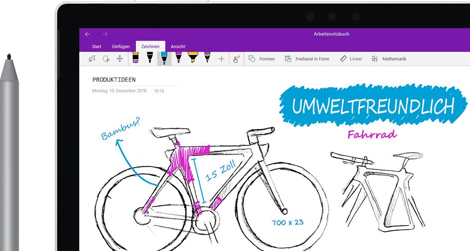 """Ein Tabletcomputer mit einer Skizze des """"Eco Bike""""-Fahrrads, die mit einem digitalen Stift überarbeitet wird"""