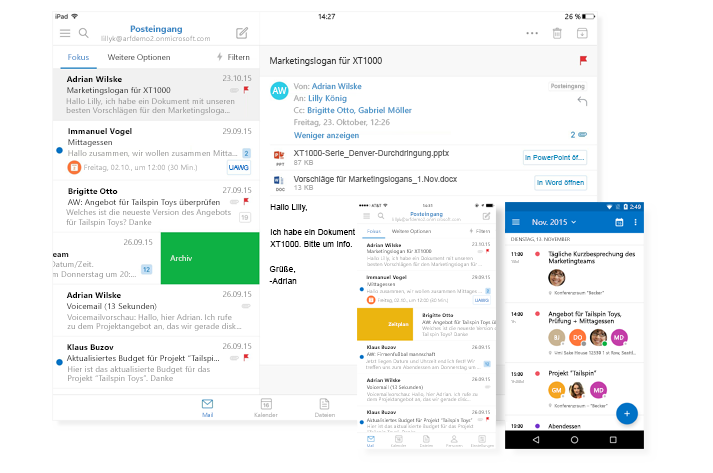-zei Smartphonebildschirme mit Outlook-E-Mail-Posteingang und Kalender