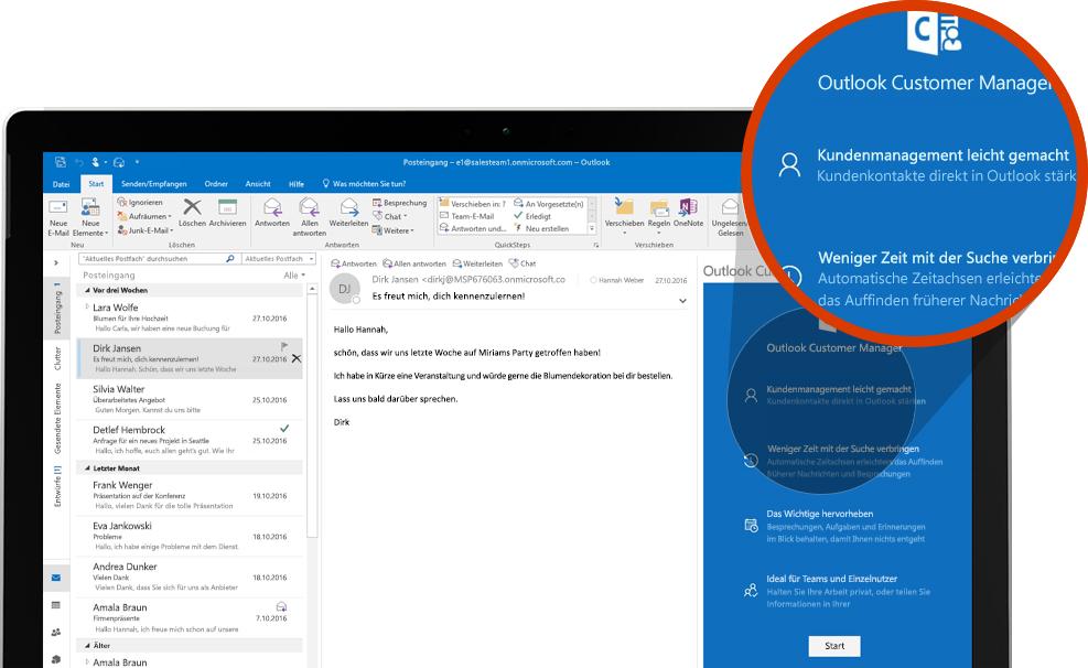 Computerbildschirm mit einem vergrößerten Abschnitt von Outlook Customer Manager in Outlook