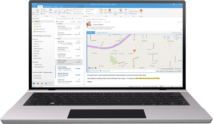 Ein Laptop mit einem E-Mail-Posteingang in Office 365