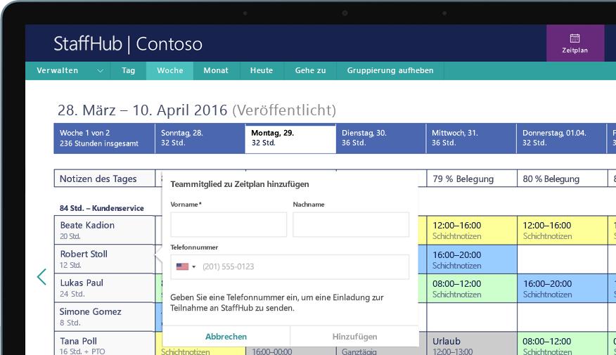 Ein Desktop-Bildschirm, der zeigt, wie ein Teammitglied anhand einer Telefonnummer hinzugefügt wird