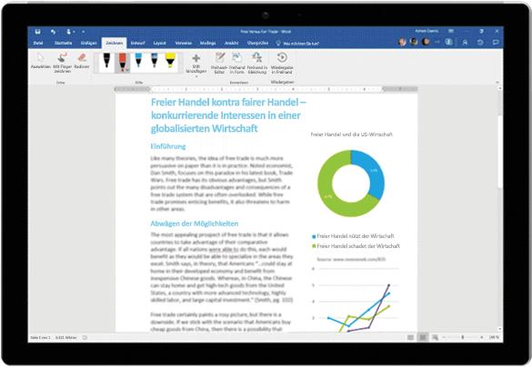 Freihand-Editor in einem Word-Dokument auf einem Surface-Tablet