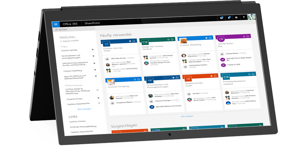 """Abbildung des SharePoint-Bildschirms """"Meine Website"""""""