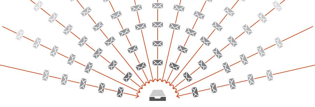 E-Mails, die aus einem Posteingang strömen