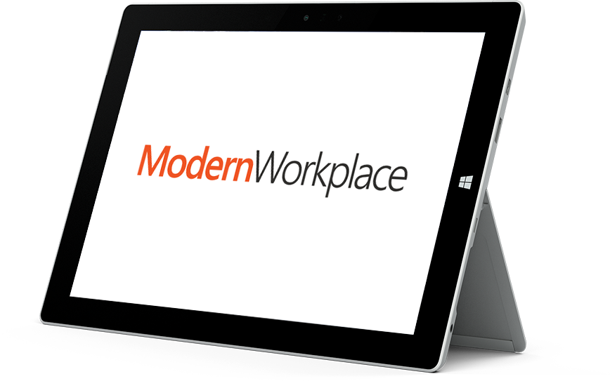 Microsoft Surface-Tablet mit dem Modern Workplace-Logo