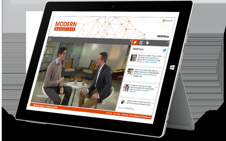 Microsoft Surface-Tablet mit einer Folge von Modern Workplace und einem Chat-Fenster