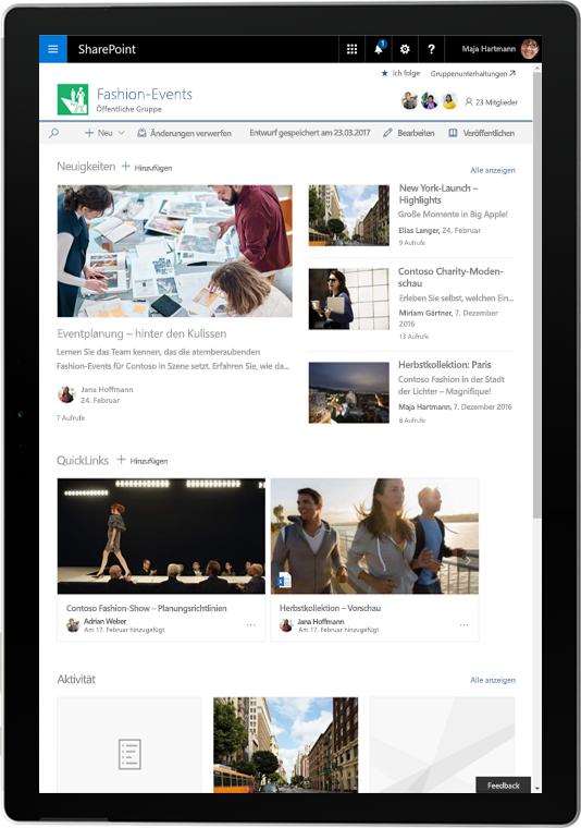 Ein Tablet mit SharePoint-Nachrichten und Aktivitäten