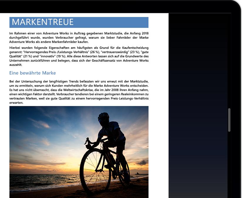 Ein Tablet- oder Laptopbildschirm, auf dem der Fokusmodus in Microsoft Word abgebildet ist
