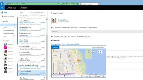 Nahaufnahme eines Benutzerpostfachs in Outlook Web App, abgerufen aus Exchange