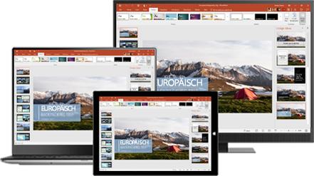 Ein Desktopmonitor, Laptop und Tablet mit einer Präsentation über Rucksacktouren in Europa, Informationen zu mobiler Produktivität mit Office für den Desktop und Mobilgeräte