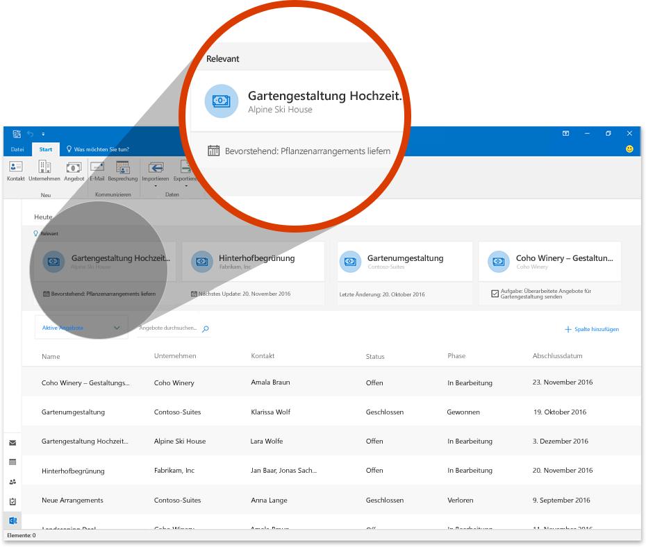 Abbildung von Outlook mit einem vergrößerten Abschnitt, der einen Geschäftsabschluss in Outlook Customer Manager zeigt