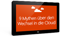 """Ein Tablet mit dem E-Book """"Neun Mythen über den Wechsel in die Cloud"""", Formular auf der Zielseite ausfüllen und E-Book herunterladen"""