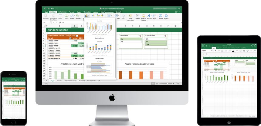 Je ein iPhone, Mac-Monitor und iPad, auf denen das neue Excel für Mac im Einsatz dargestellt wird