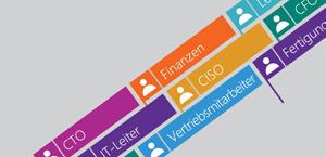 Flaggen auf einem grauen Hintergrund, beschriftet mit einer Vielzahl von Positionen und Unternehmensfunktionen als Symbole für die Zusammenarbeit