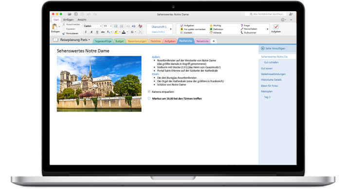 Ein MacBook mit einem in OneNote für Mac geöffneten Notizbuch