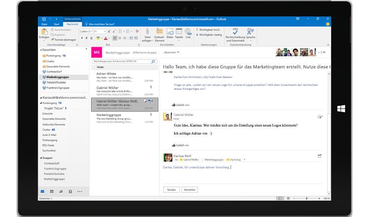 Tablet-Bildschirm mit einer Gruppenunterhaltung in Outlook