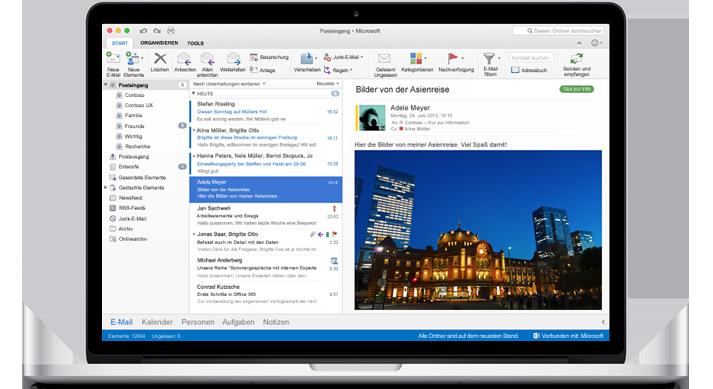 Ein MacBook mit einem Posteingang in Outlook for Mac