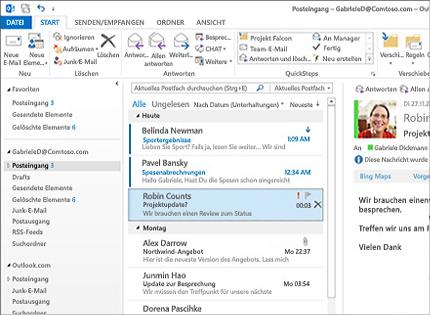 Screenshot eines Microsoft Outlook 2013-Posteingangs mit Nachrichtenliste und Vorschau