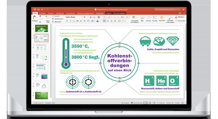 Ein MacBook mit einer Präsentation im neuen PowerPoint für Mac