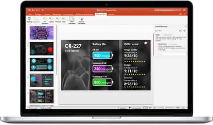 Ein Laptop mit Folien einer PowerPoint-Präsentation, die in Teamarbeit entstanden sind
