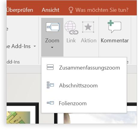 Ein Tablet, auf dem eine PowerPoint-Folie mit der Zoomfunktion angezeigt wird