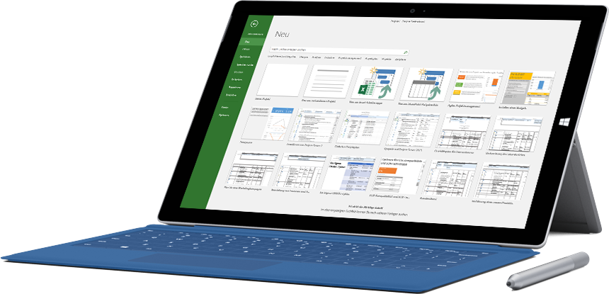 "Microsoft Surface-Tablet mit dem Fenster ""Neues Projekt"" in Project 2016"