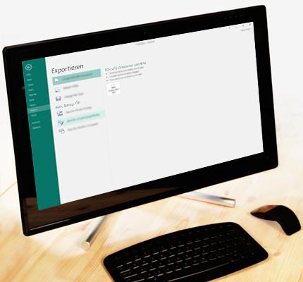 Ein PC mit einem Screenshot der Registerkarte ''Backstage'' in Publisher mit der Exportfunktion