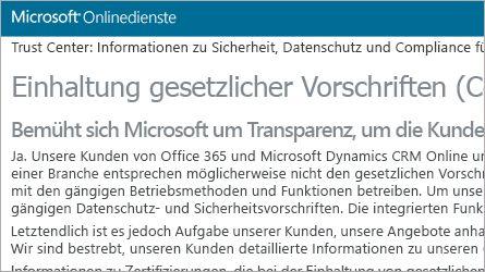 Seite zu Microsoft Online Services mit Informationen zur Einhaltung gesetzlicher Vorschriften, FAQs zur Einhaltung gesetzlicher Vorschriften lesen