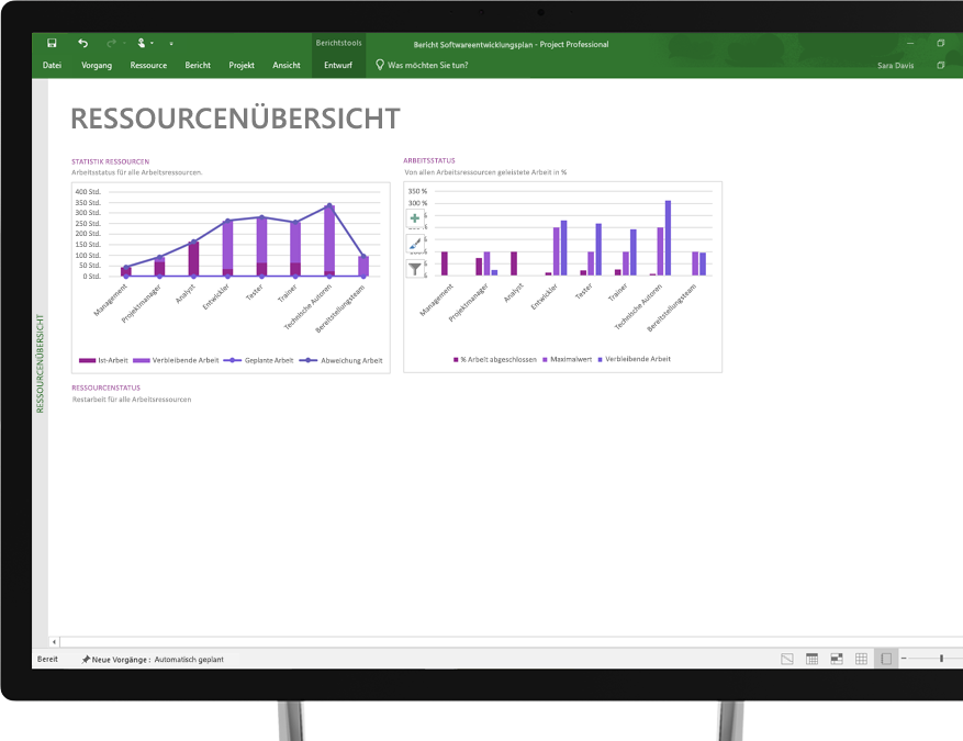 Ein Gerät, auf dem eine Project-Datei mit einer Ressourcenübersicht angezeigt wird