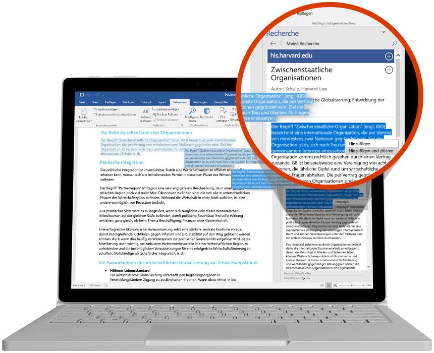 Laptop mit einer aktiven Recherche in einem Word-Dokument