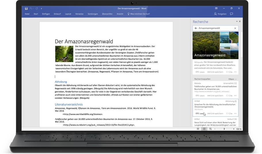 Ein Laptop mit einem Word-Dokument und der Recherchefunktion