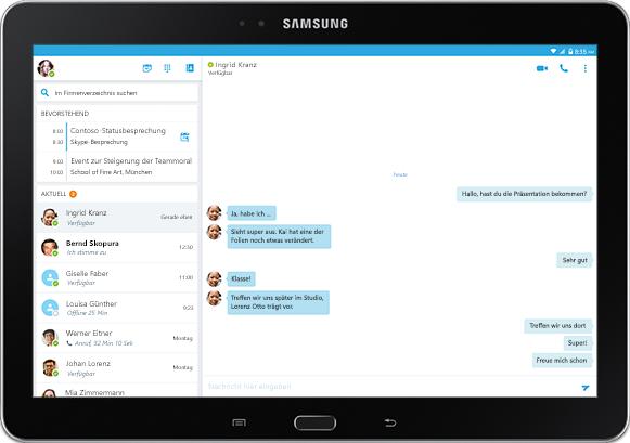 Ein Tabletbildschirm mit einer Chatunterhaltung in einem Skype for Business-Anwendungsfenster