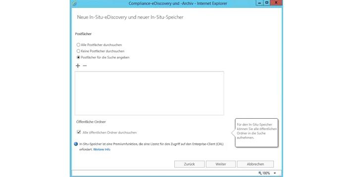 Ein Internet Explorer-Fenster mit eDiscovery und In-Situ-Speicher