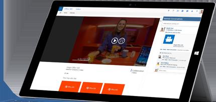 Ein Tablet mit der Office 365 Video-Seite, auf die Videos hochgeladen werden