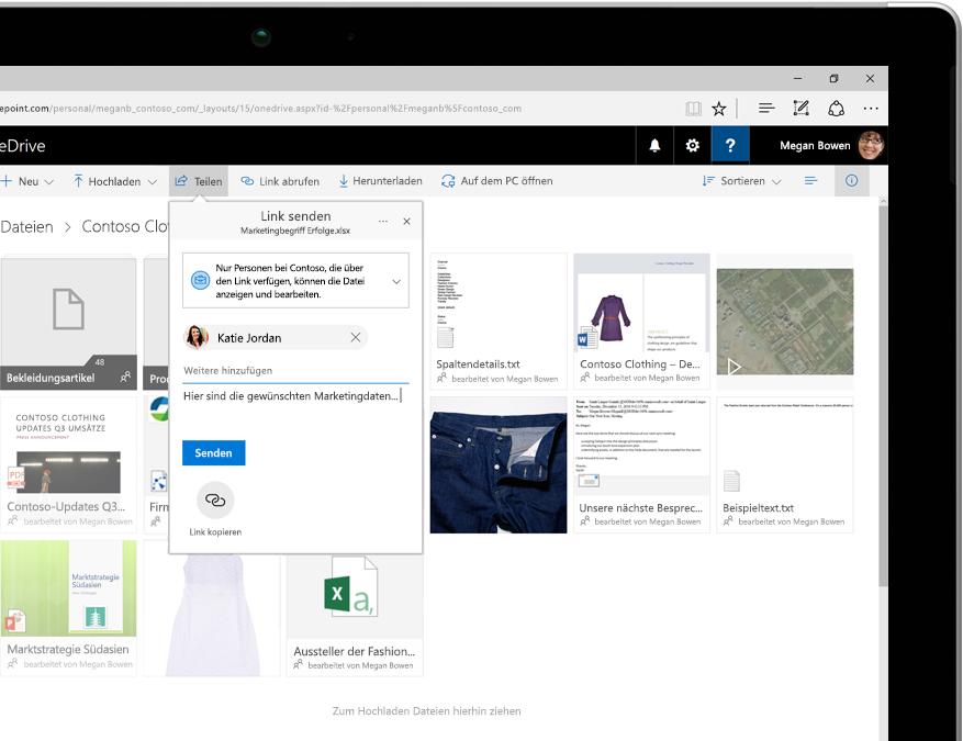 In OneDrive gespeicherte Dateien auf einem Tabletcomputer
