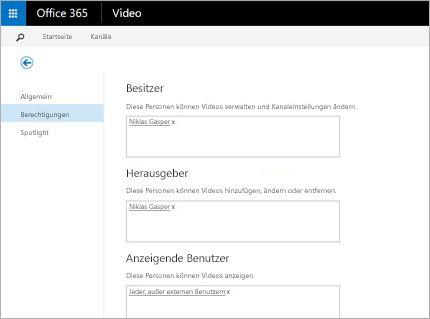 Screenshot der Portalseite zum Verwalten von Videos in Office 365 Video