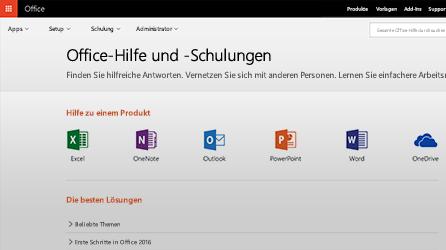 """Screenshot """"Office-Hilfe und -Schulungen"""""""