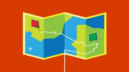 Eine farbige Roadmap, die eine empfohlene Route zeigt