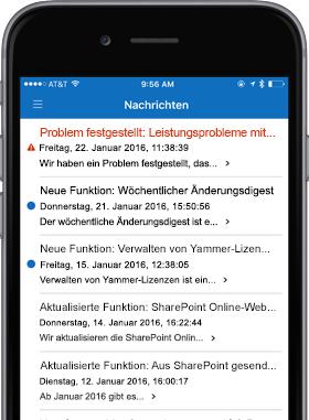 Abbildung eines Smartphones mit dem Nachrichtenbildschirm
