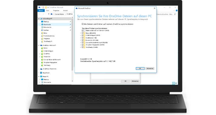 Ein Laptop mit einer Nahaufnahme der Synchronisierungsfunktionen von OneDrive for Business