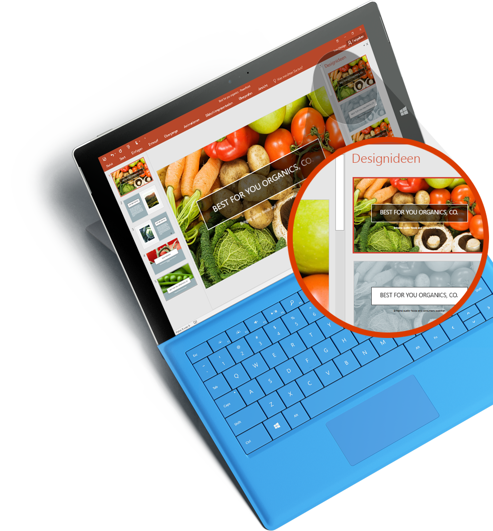Ein Surface-Tablet, auf dem eine PowerPoint-Präsentation und der PowerPoint-Designer angezeigt werden