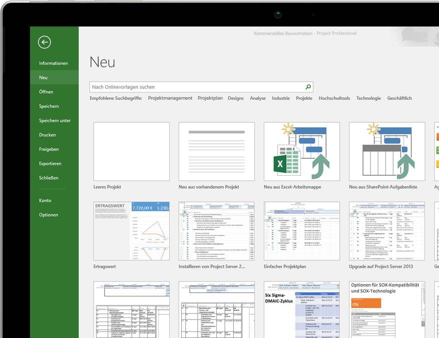 Microsoft-Projektmanagement, Vorlagen, Planung und Werkzeuge