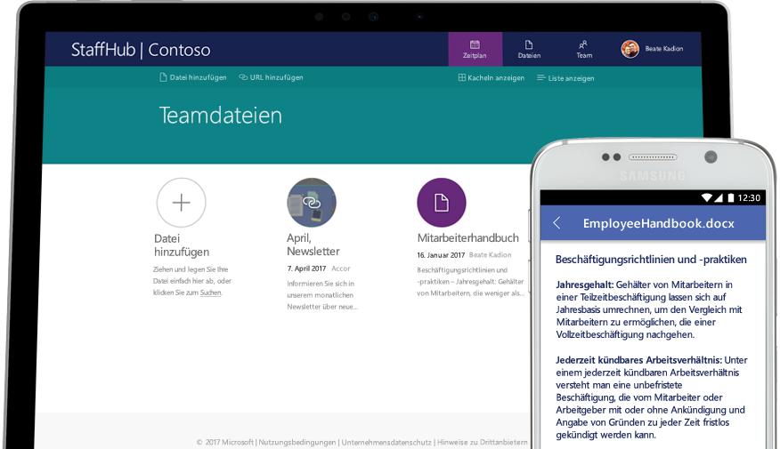 Ein Desktop und ein Smartphone, die das gleiche Mitarbeiterhandbuch zeigen