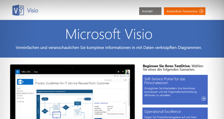 Visio-TestDrive auf einem Computerbildschirm, Visio-TestDrive jetzt durchführen