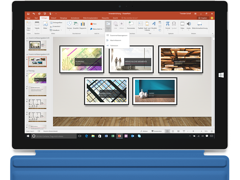 Zoom in PowerPoint auf einem Laptop