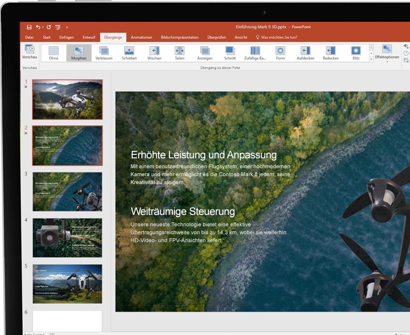 Ein Stift und ein Tablet, auf dem eine Microsoft PowerPoint-Präsentation abgebildet ist