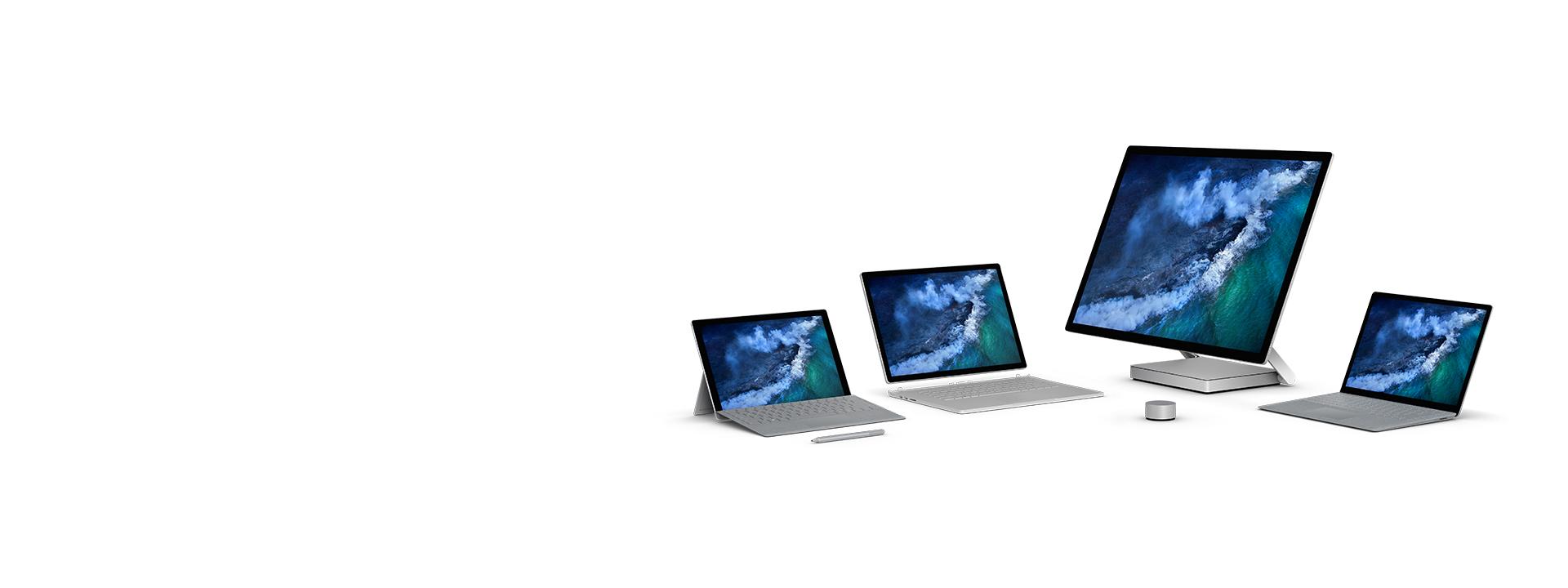 Die Surface-Familie: Surface Pro, Surface Laptop, Surface Book 2 und Surface Studio